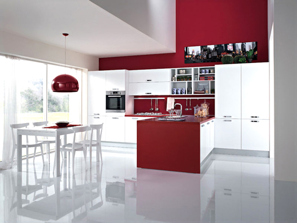 Cucina rossa vi siete innamorati del rosso per la cucina - Cucina con penisola ...