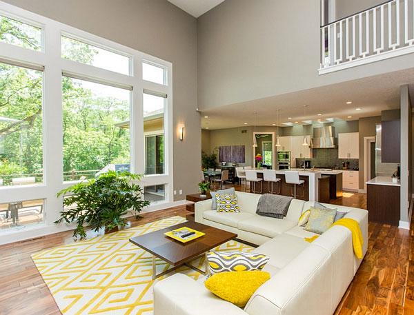 D co jaune et gris dans le salon 25 id es cr atives - Idee deco woonkamer foto ...