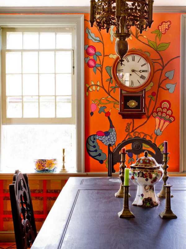 Colorful-Floral-Dining-Room-Wall-Murals-Ideas