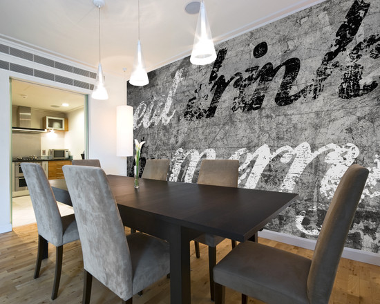Contemporary-Dining-Room-Grey-Murals-Artwork