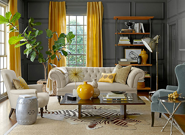 Eclectic-living-room-with-gray-walls-and-yellow-drapes