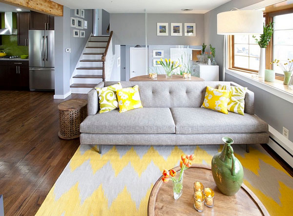 Gray-and-yellow-living-room-seems-both-cozy-and-contemporary