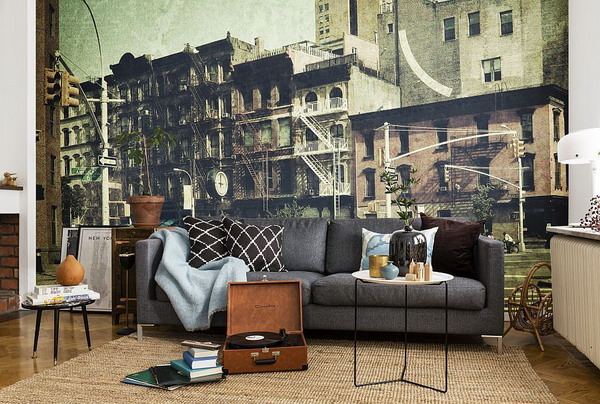 Charming Living Room Murals Photos Best Image House Interior