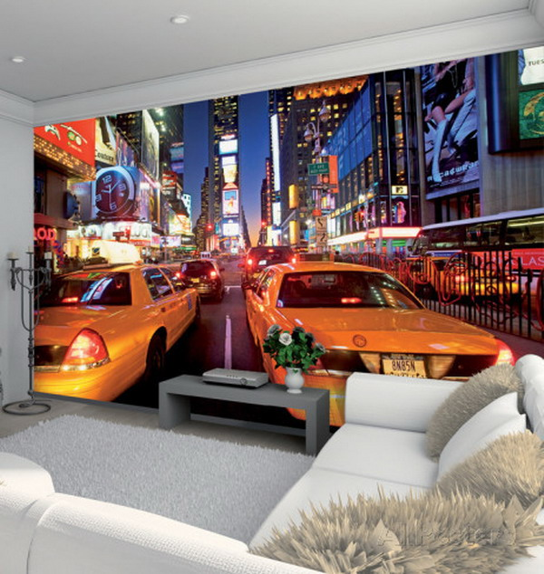 New-York-Times-Square-Wall-Murals-for-Modern-Living-Room