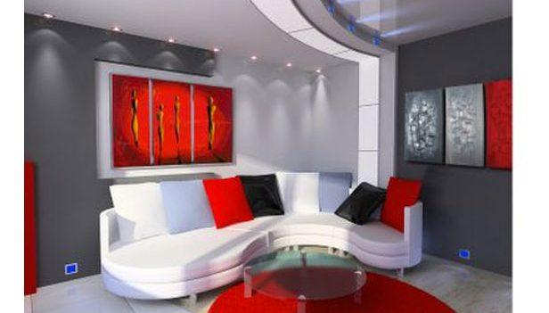 Rosso abbinato a meraviglia in questo salone moderno for Parete rossa soggiorno