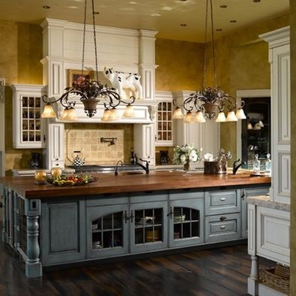 French Grey Kitchen Island