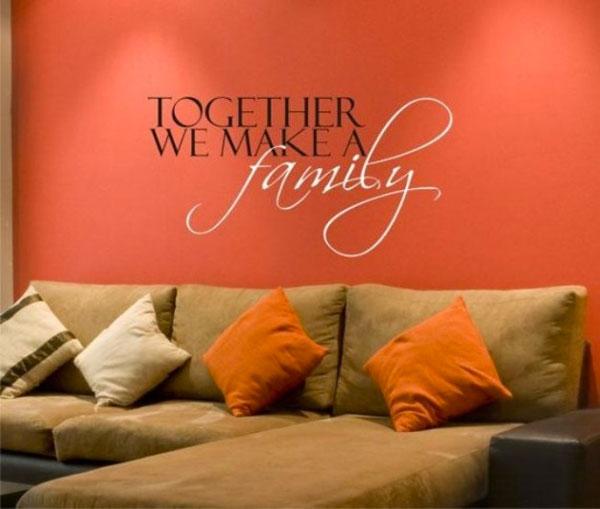 Frasi murali abbinare una scritta al divano 22 idee per - Decorazioni sui muri di casa ...