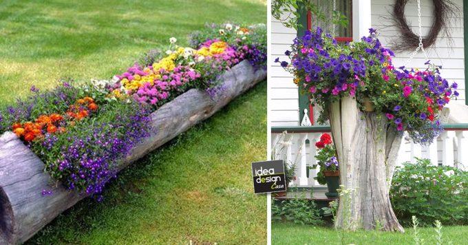 Decorazione tronco: 20 idee per decorare un tronco con i fiori