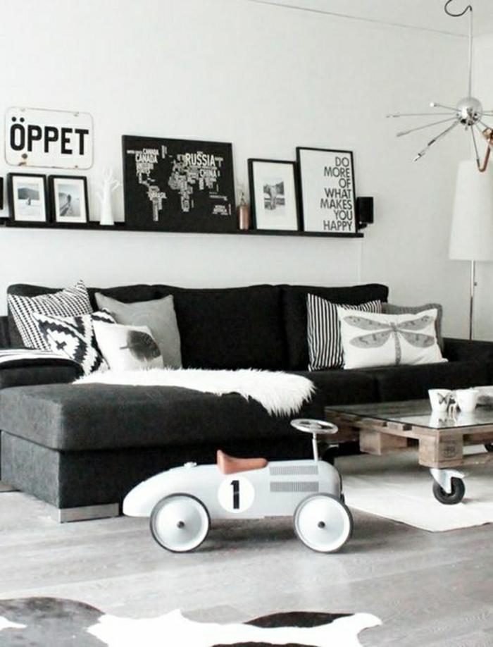Faire une table basse en palette gris noir peintures1 - Faire une table basse en palette ...