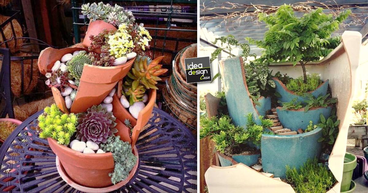 Riciclo creativo i vasi rotti diventano splendidi giardini for Creazioni giardini