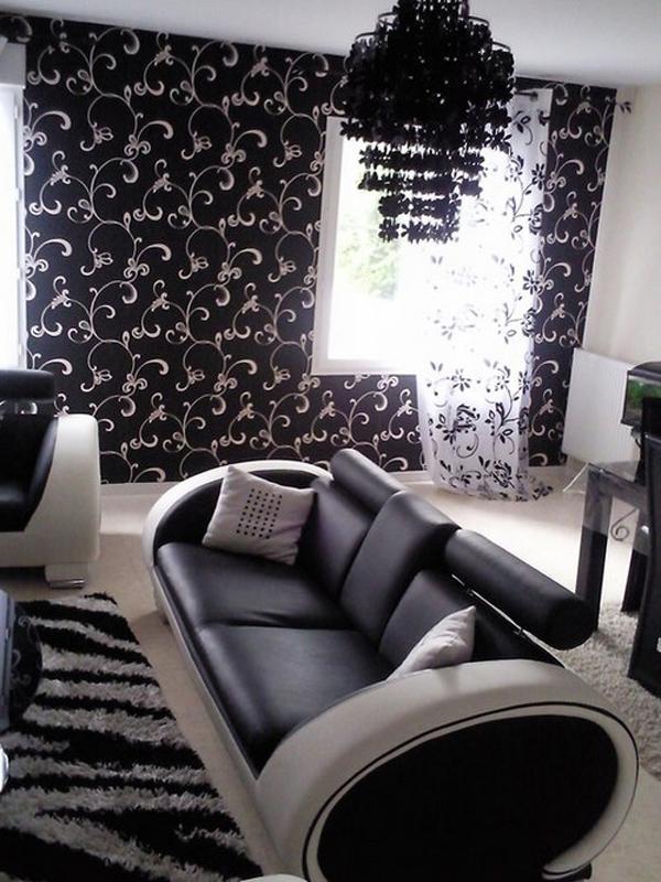 rideaux design noir et blanc meuble chaussures rideau design noir imprim new york rideau noir. Black Bedroom Furniture Sets. Home Design Ideas