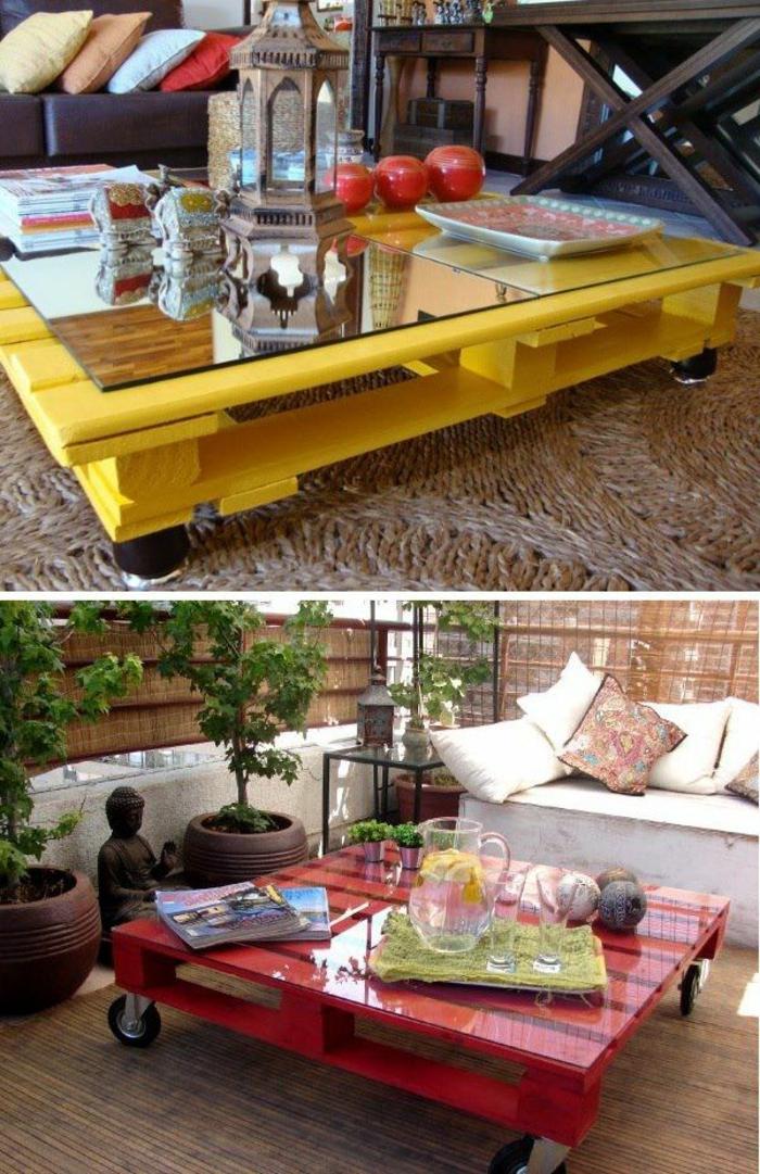 Une table basse en palette de bois couleur jardin1 for Decaper une table de jardin en bois