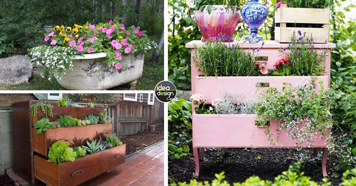 Arredo giardino riutilizzare i vecchi mobili e decorare - Giare da giardino ...
