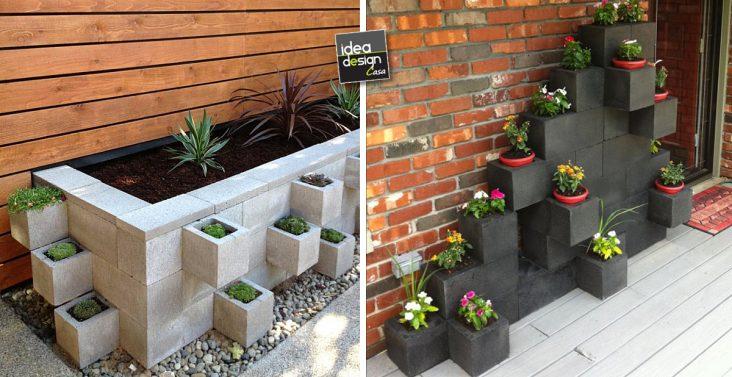 Decorare le scale esterne con i fiori 20 idee creative - Blocchi cemento per giardino ...