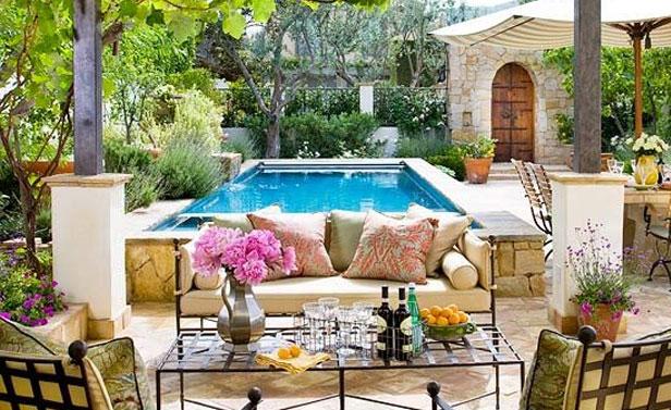 giardino con piscina design esterni : Bellissimo salone da giardino con piscina