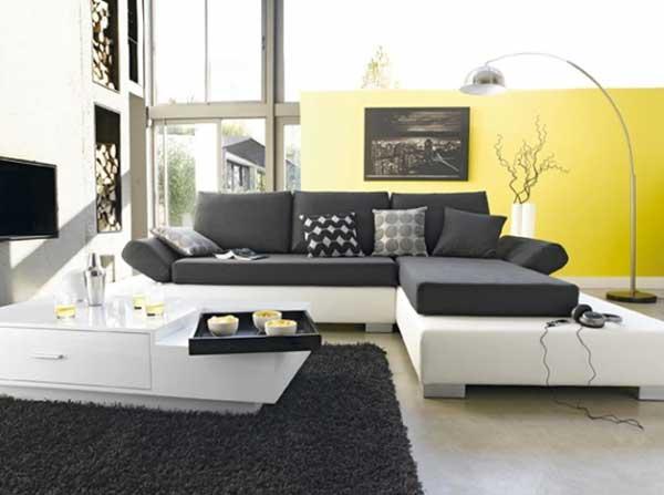 Arredare con il giallo un colpo di sole dentro casa - Salon gris jaune ...