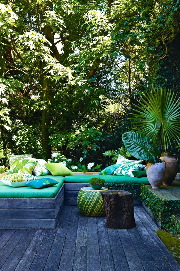 salotto esterno verde