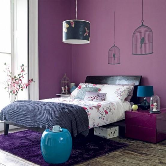 Arredare la camera da letto con il viola 51 idee for Camera da letto vittoriana buia