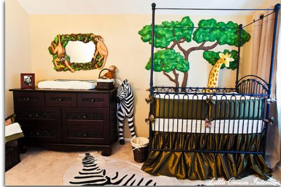 camera da bambino decorazione foresta