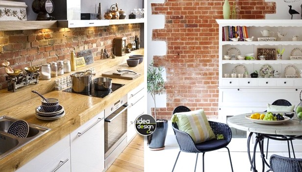 Parete mattoni a vista cucina 69 cucine con pareti di mattoni - Cucine a vista ...