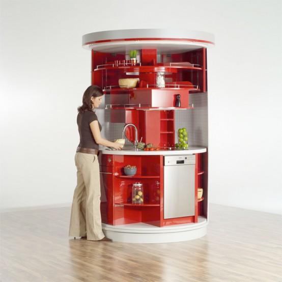 Cucina salvaspazio circle di compact concepts - Cerniere per ante cucina 180 gradi ...