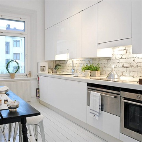 Parete mattoni a vista cucina 69 cucine con pareti di mattoni - Schienali per cucine ...