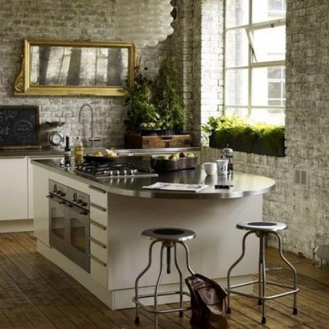 cucine parete mattoni 14