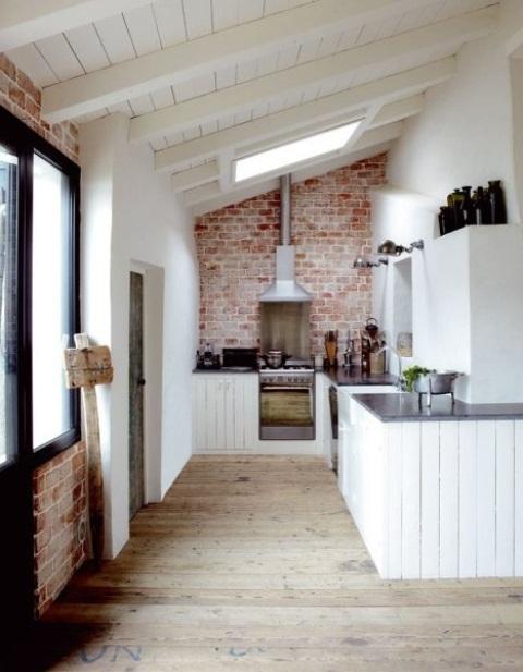 cucine parete mattoni 16