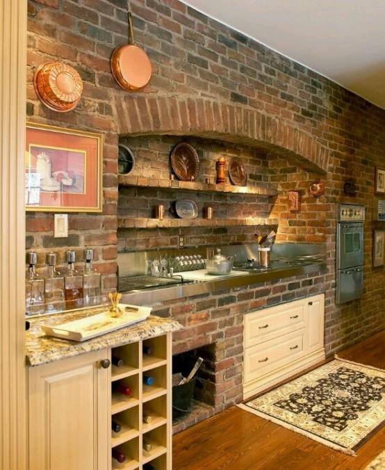 cucine parete mattoni 18