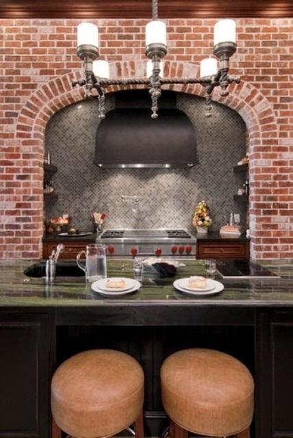 cucine parete mattoni 27