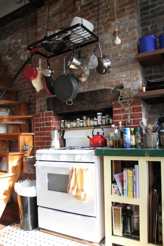 cucine parete mattoni 28