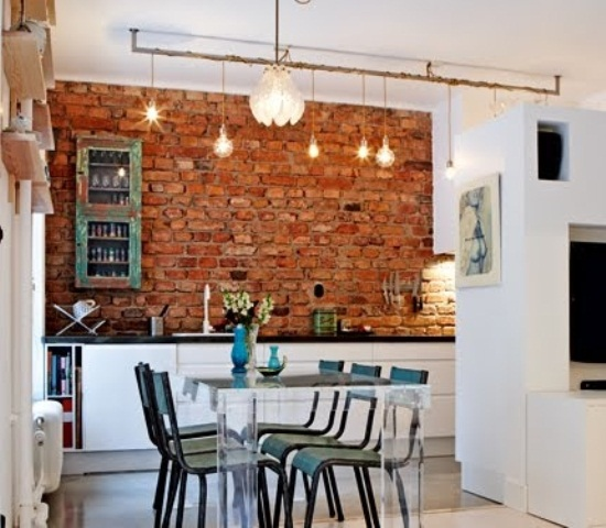 Parete mattoni a vista cucina 69 cucine con pareti di mattoni - Mattoni per interni casa ...