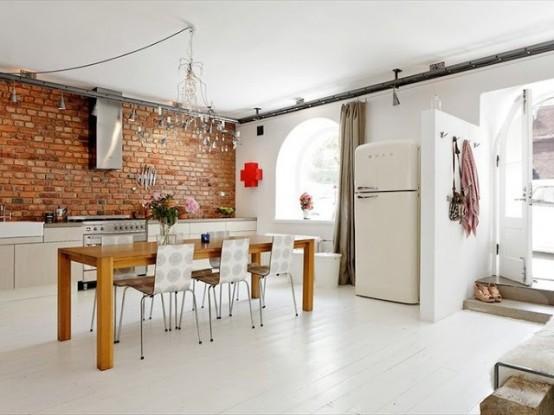 Parete Mattoncini Grigi : Parete mattoni a vista cucina cucine con pareti di