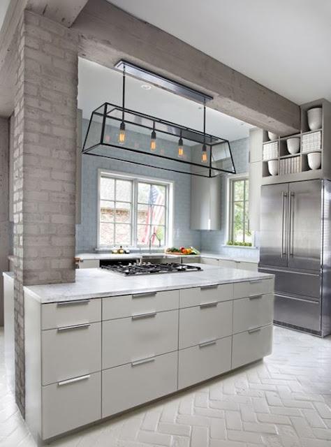 Parete mattoni a vista cucina 69 cucine con pareti di - Cucine a parete ...
