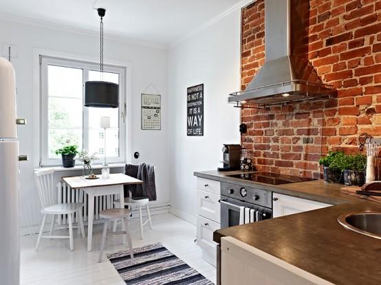 Parete mattoni a vista cucina: 69 cucine con paretI di mattoni