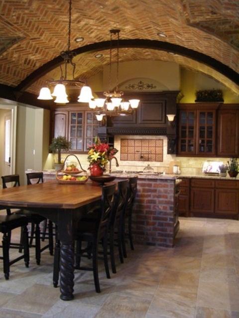 cucine parete mattoni 45