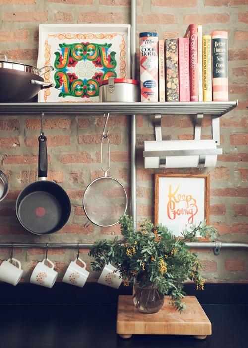Kitchen brick wall