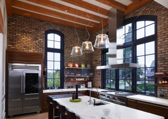 Idee Per Le Pareti Della Cucina : Parete mattoni a vista cucina cucine con pareti di