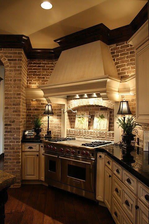 Parete mattoni a vista cucina: 69 cucine con pareti di mattoni a vista