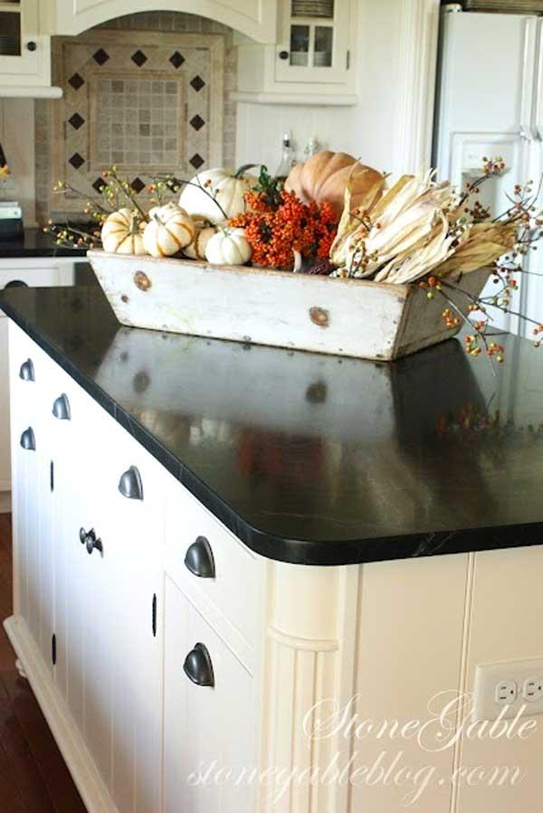 isola Marmo decorazione cucina : Decorazione cucina: 35 idee per una decorazione autunnale