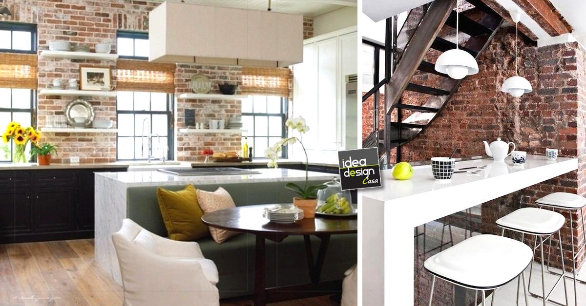 Parete mattoni a vista cucina 69 cucine con pareti di mattoni for Casa vittoriana in mattoni
