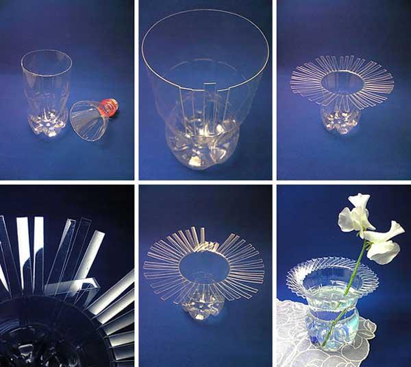 vaso con plastica riciclata