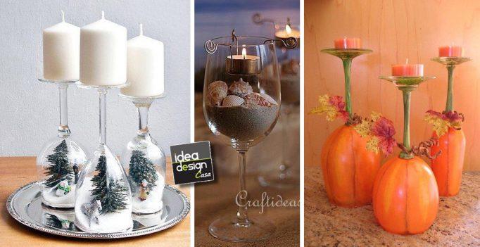 Bicchieri creativi 27 creazioni originali con i bicchieri - Decorazioni natalizie in vetro ...
