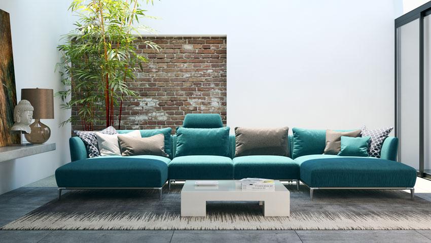 bel soggiorno vintage con una parte di parete rivestita con mattoncini rossi.