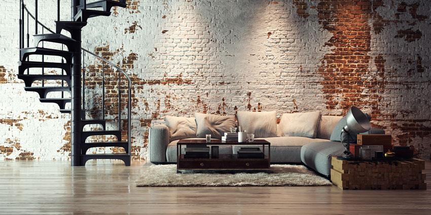 pareti vintage mattoncini rossi sporcati bianchi in questo soggiorno.