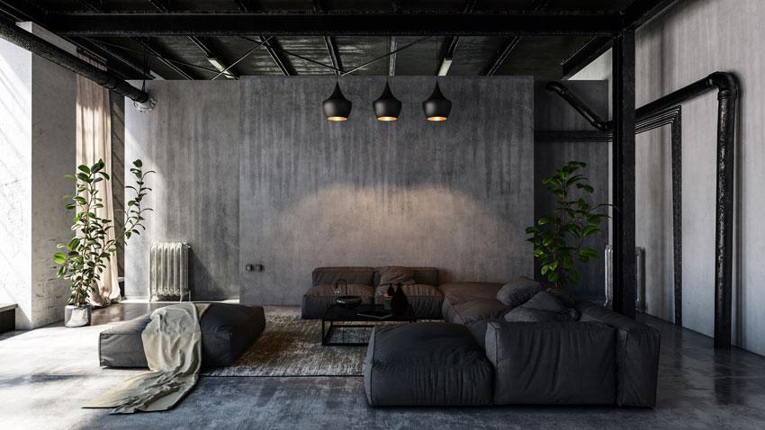 soggiorno in stile vintage con divano ad angolo in pelle, pareti grigie scure.