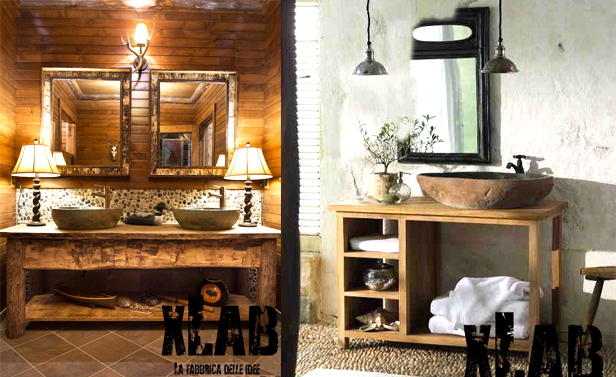 Mobile Bagno Vintage Piano In Legno Massello Castagno Scuro 120x40x7 ...