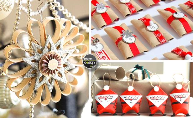 Riciclare rotoli di carta igienica per decorare casa a natale - Decorazioni natalizie con tovaglioli di carta ...