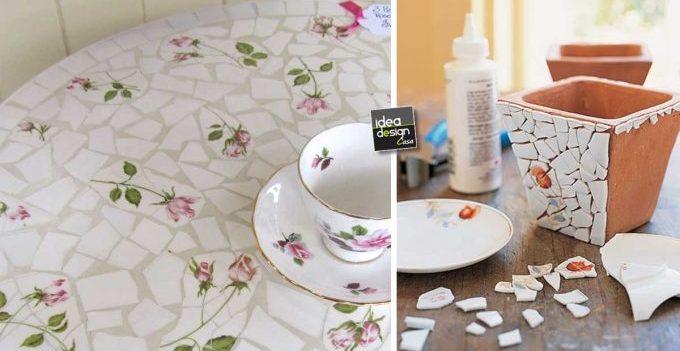 Riciclo creativo piastrelle e piatti rotti: 20 idee da copiare