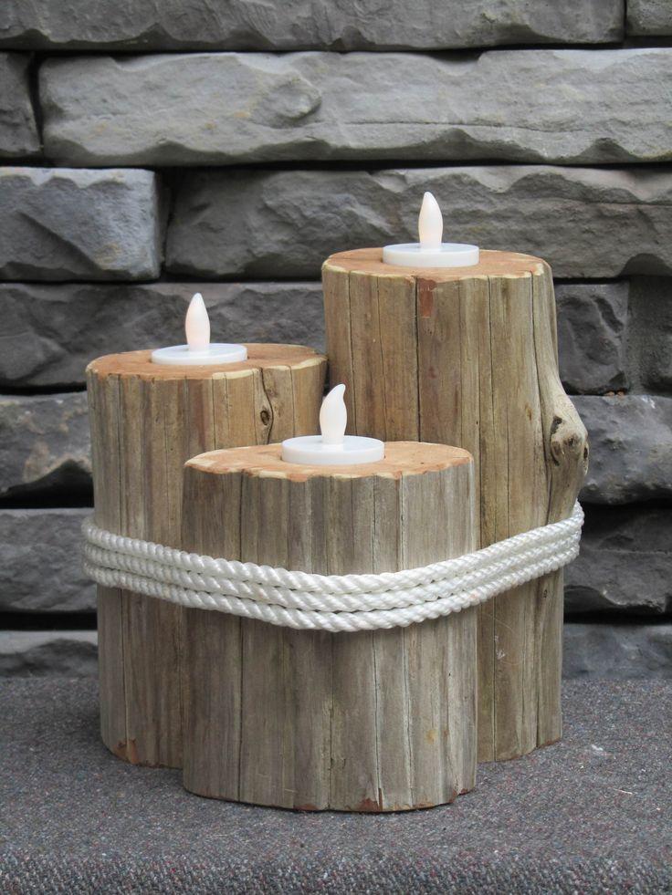Candele creative con tronco